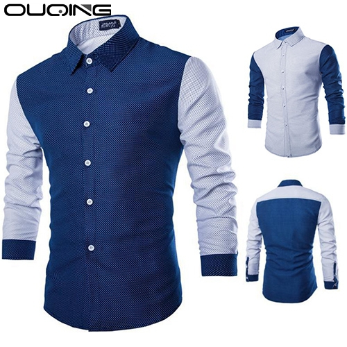 2015 New Arrival Shirt Men Long Sleeve Casual Shirt Slim Fit Polka Dot Brand New Blue