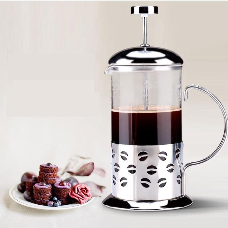free shipping Pressure pot method coffee pot household stainless steel tea maker glass french press coffee pot(China (Mainland))