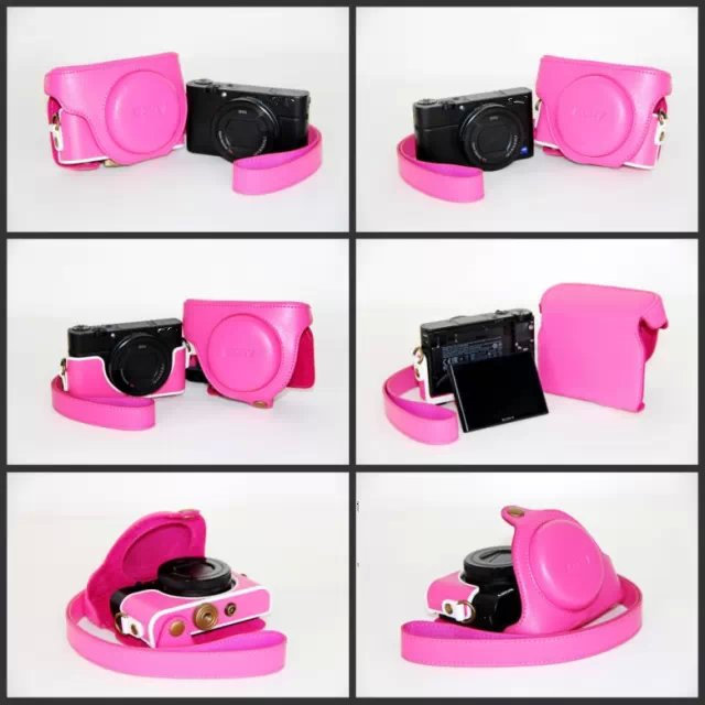 Black/Brown/Coffe/Pink Camera Bag Case Leather Case for Digital Camera Sony RX100 M3 Free Ship(China (Mainland))