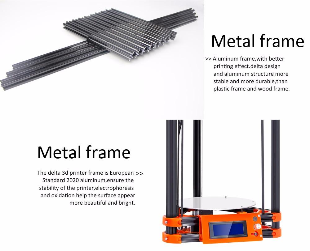 2016 LCD Diy FLSUN 3d Metal Printer, Large Printing Size 3d-Printer Delta Kossel 3d Printer Kit 40m Filament 8G SD Card