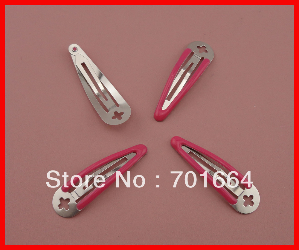 50PCS 5.0cm expoy finish fushia round head plain metal snap hair clips with cross hole at nickle free and lead free(China (Mainland))