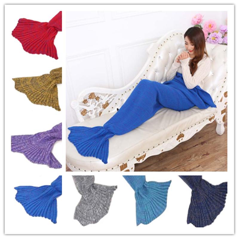 Knitted Mermaid Tail Blanket Handmade Super Soft Throw Bed Wrap Children Sleeping Blanket Adult Sleeping Bag Warm 7 Colors(China (Mainland))
