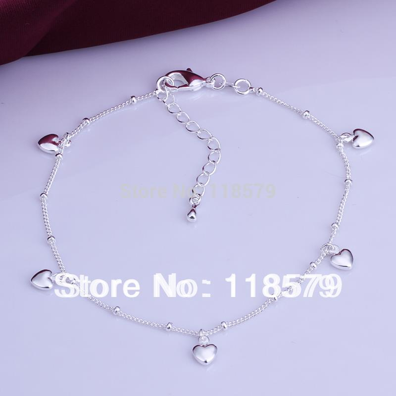Fashion Jewelry 925 Silver Anklet Solid Heart Pendant Anklets High Quality Ankle Bracelet Factory Price Free Shipping MDA003(China (Mainland))