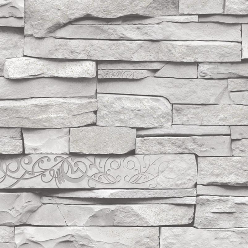 Buy imitation exposed grey 3d brick for Grey brick wallpaper living room