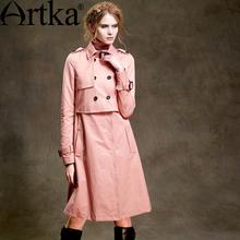 Artka Women's Vintage Solid Color Double Breasted Wind Coat Elegant Turn-down Collar Long Sleeve Slim Comfy Coat FA10155Q