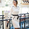 Black white women spring coat 2015 long coats belt England Double breasted slim trench coats for
