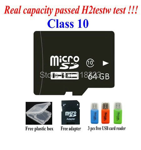 product free shipping Real capacity memory card 2G 4G 8GB class 4 16GB 32GB 64GB class 10 micro sd card Pass h2testw Free adapter reader