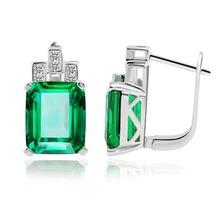 JewelryPalace Роскошные 7.6ct Создан Зеленый Nano России Изумрудный Стерлингового Серебра 925 Клип На Серьги для Женщин Ювелирные Изделия(China (Mainland))