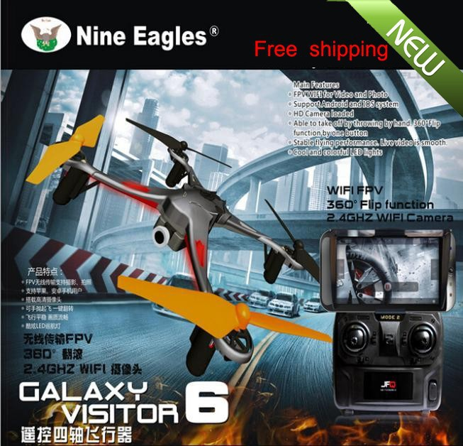 2015 hot sale Nine Eagles Visitor 6 F15 2.4G FPV WIFI 1.0MP HD Camera 360 Flip 4 Axis 4CH UAV RTF Quadcopter Drone helicopter(China (Mainland))