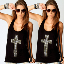 Hotsale New Retri Lady Girl Diamond Cross Vest Tops Hollow Back set Loose Shirt