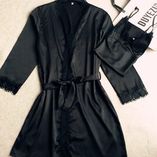 sexy 2016 new arrival brand lace silk robe & gown set free shipping plus size two piece suspender sleepwear + bathing robe hot(China (Mainland))
