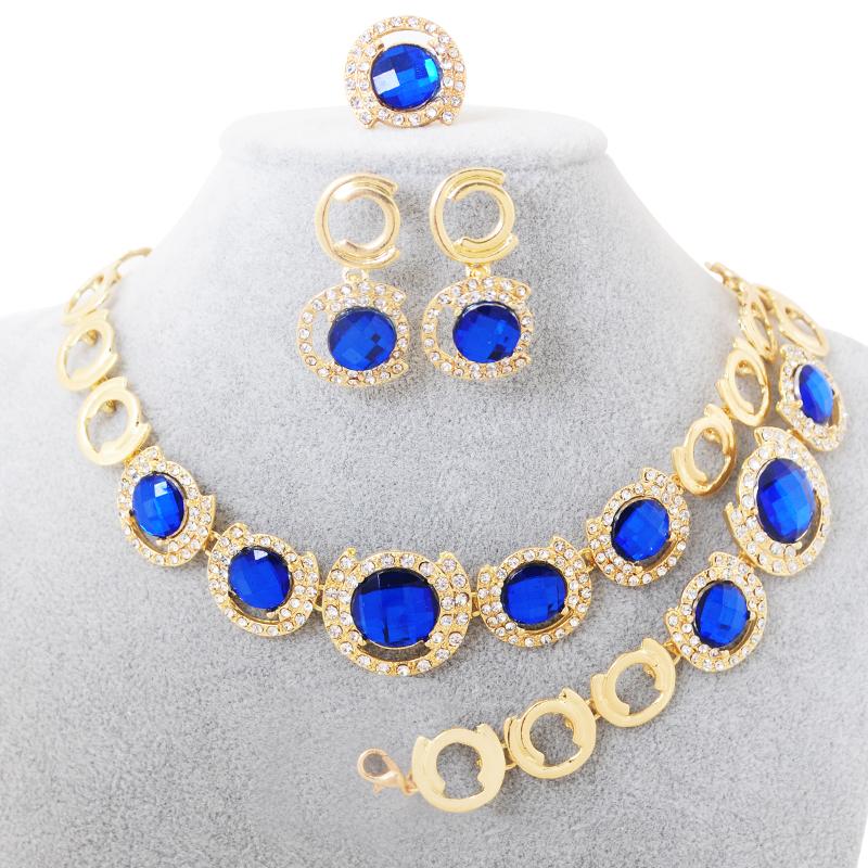 Parure Bijoux Femme 2016 Brand CZ Diamond Jewelry Statement Necklace Set 4 PCS Round Pendant Wedding Sapphire Jewelry Sets Gifts(China (Mainland))