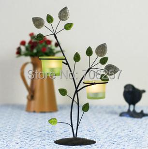 2015 new style free 14g handmade candelabra two pieces glass small fresh garden lantern candl wedding home decorative(China (Mainland))