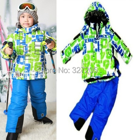 Pom s141 kids clothes set for winter children Ski suits snowboard wear clothing warm sets outwear jacket+jumpsuit(China (Mainland))