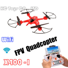 Free shipping X400-1 RC Helicopter 6 Axis GYRO Drone RC Quadcopter can add HD FPV Camera C4005 (Red)