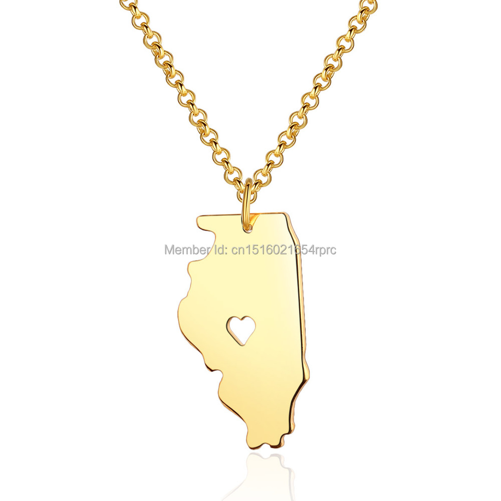 illinois state map pendant necklace i state map