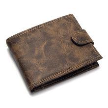 Diseñador de lujo para hombre Cartera de cuero de la PU cartera corto carteras hombres Hasp hombre Vintage monedero bolsa de monedas Multi-funcional de la cartera(China)