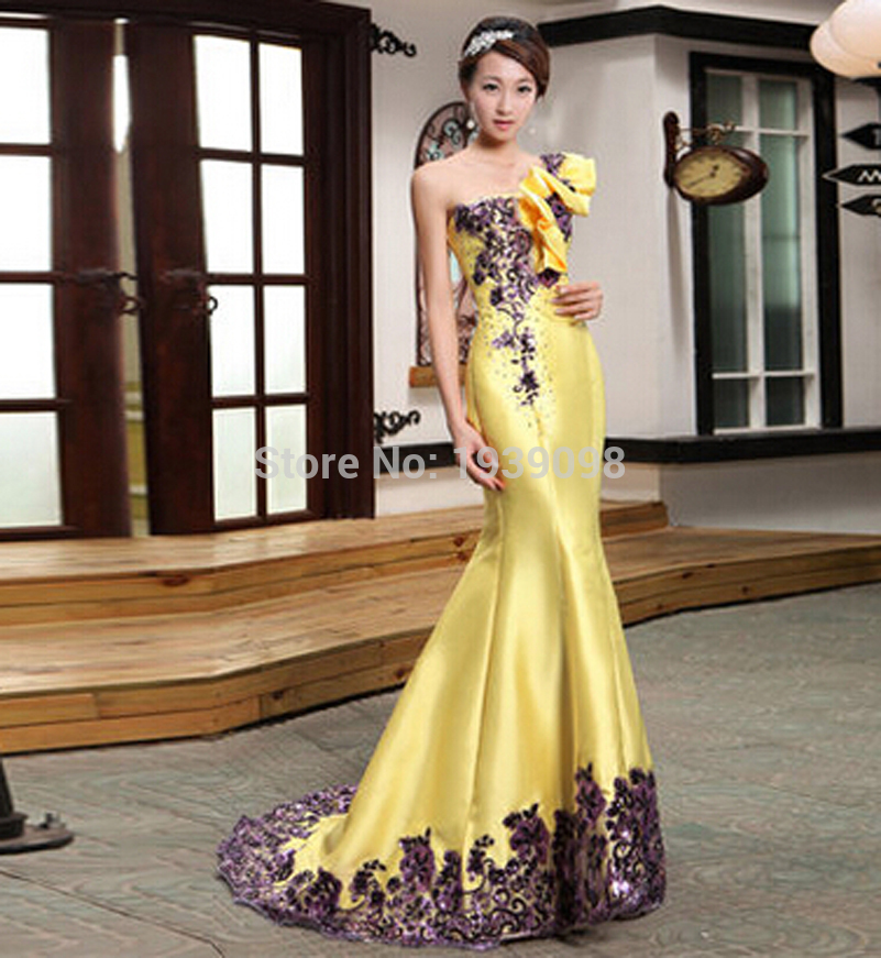 Free shipping New Arrival Long Yellow Evening Dresses For Women 2015 Long Wedding Evening Gowns One Shoulder Mermaid Prom Party(China (Mainland))