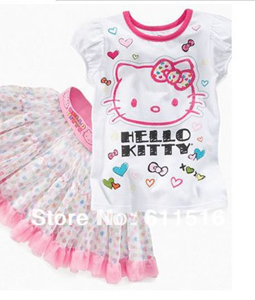 Free Shipping 5 sets/lot New Girl Hello Kitty Clothing Sets , Girl`s T-shirt and Skirt 2 pieces summer suit white &amp; pink color<br><br>Aliexpress