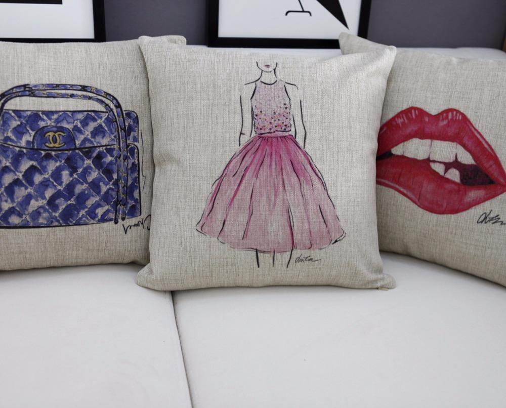 European fashion bag pillow Lips cushion Linen pillowcase home decor sofa cushion decorative Pillows