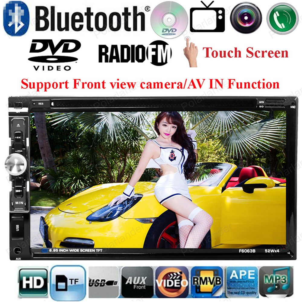 2din Car DVD MP4 MP5 Player Support Front/ Rear Camera/ Steering Wheel Control/FM/USB/TF Card Touch Screen Bluetooth 6.95 inch(China (Mainland))