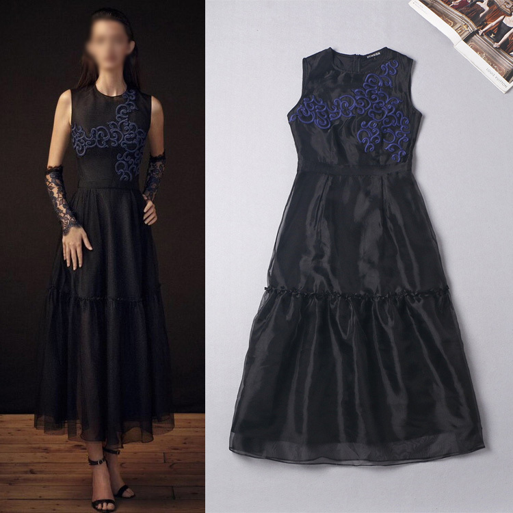 2015 Early Spring Summer New Fashion Runway Brand Women's Embroidery Sapphire Flowers Navy Blue Elegant Vest Organza Dress(China (Mainland))
