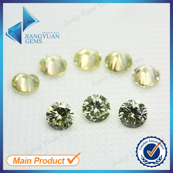 500pcs 2.6-6.0mm Light Olive Color Wholesale 5A Loose CZ Stone Brilliant Round Cut Cubic Zirconia For Sale Synthetic Gems(China (Mainland))