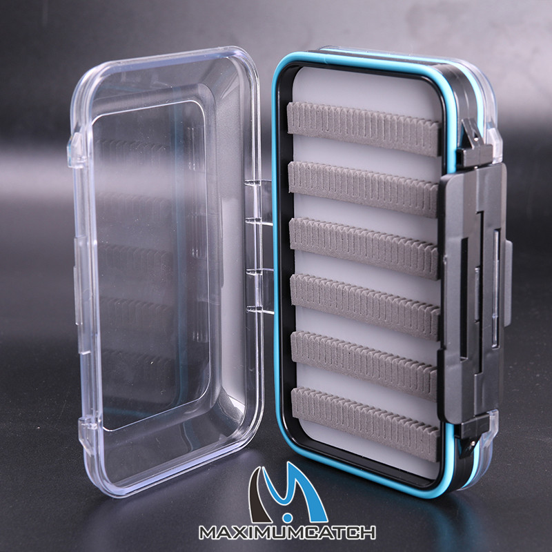 Lot of 2 pieces, Free shipping!!! 150*95*42mm Plastic Waterproof Double Side Clear Slit Foam Fishing Box FLY BOX(China (Mainland))