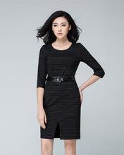 New Autumn Women dress Slim Striped 15 Split Dresses Stripe 924