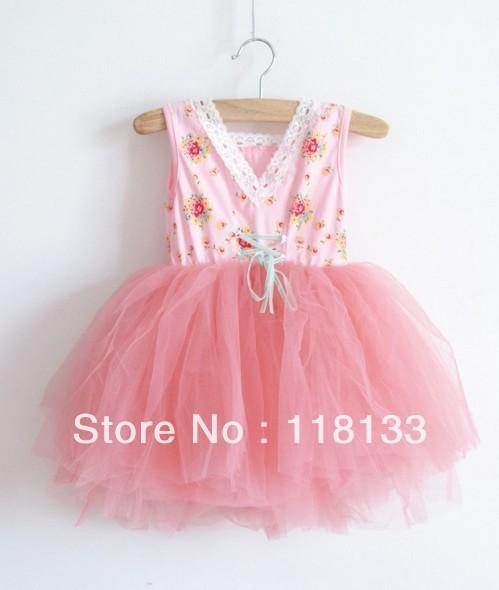 Wholesale - 10pcs/lot new girl's Floral Cotton 6 layer yarn super beautiful princess vest dress children's clothes Y AUG3