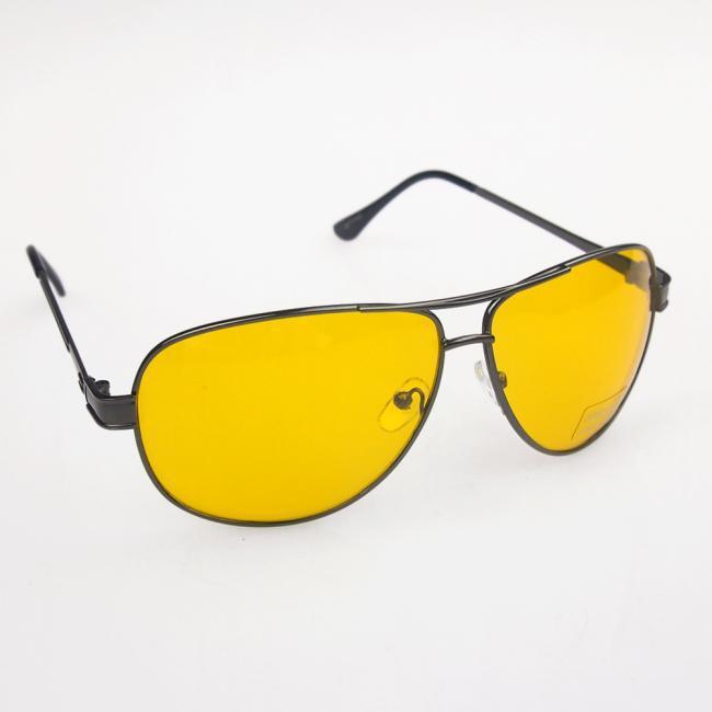 HD High Definition Night Driving Aviator Glasses Yellow Len Aviator Sunglasses Gun Frame(China (Mainland))