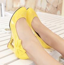 Low price wholesale new fashion women pumps wedges bowtie high heels shoes woman platform wedding shoes