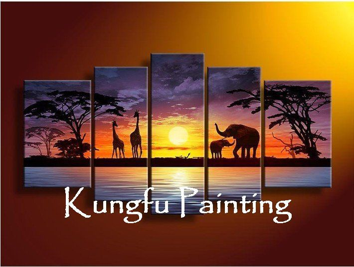5-0081 100% handmade high quality african landscape oil paintings elephant 5 panels home decoration wall art picture unframed