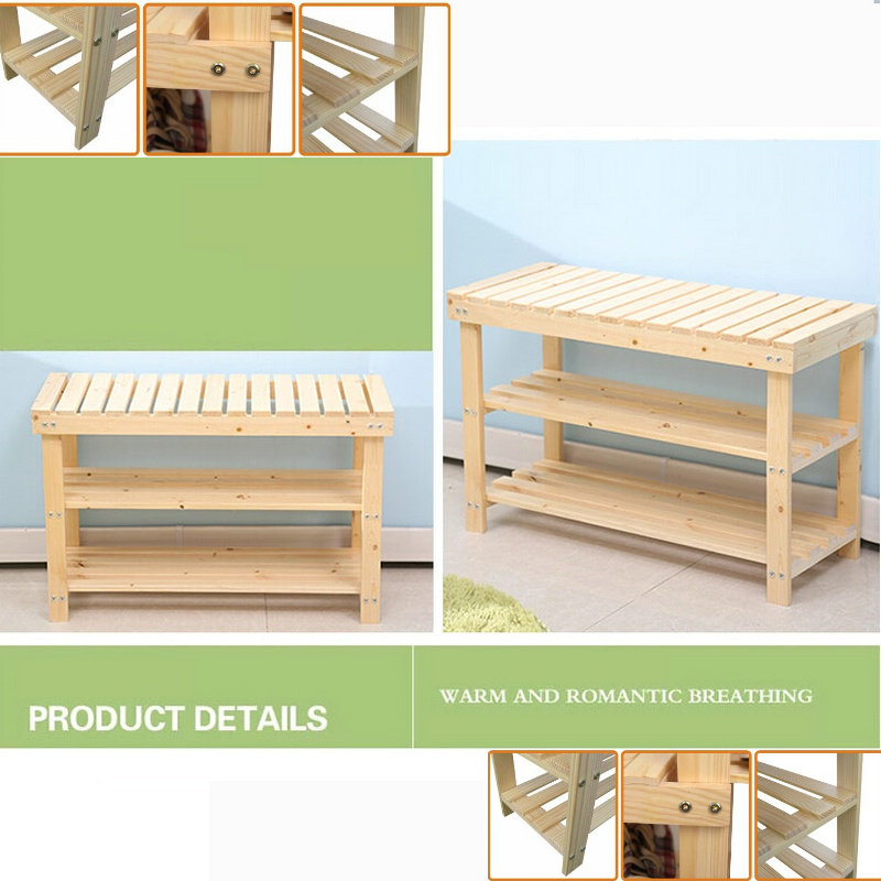 60CM Solid Pine Wood Color Three Levels Shoes Rack Shoe Shelf Storage Footstool Bench Green Safe Without Painting(China (Mainland))
