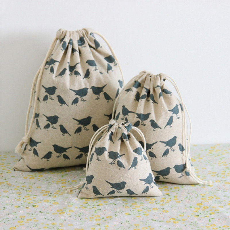 Cotton and linen storage bag Pigeon pattern Storage Bag for Sundries /Retro Draw Cord Small Bags for Girls as Gifts Q152(China (Mainland))