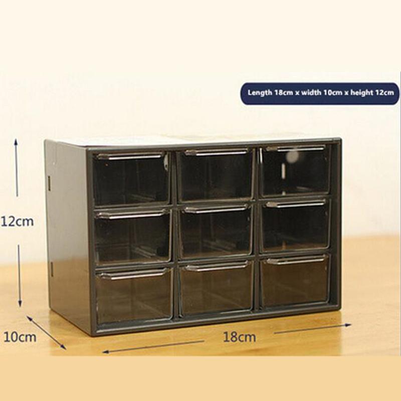 Office desktop storage box plastic sorting grid jewelry box drawer jewelry storage box 9 mini storage cabinets Specials(China (Mainland))