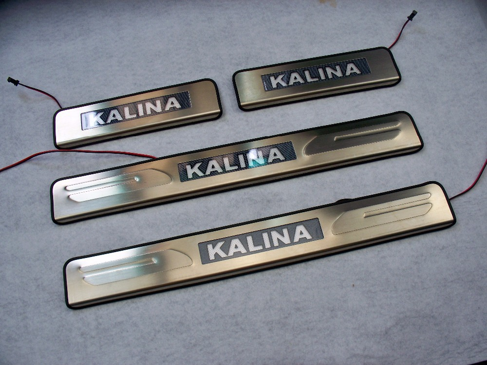 For Lada Kalina Door Sill Scuff Plate 2010 2015 Stainless Steel With Led Welcome Pedal Car