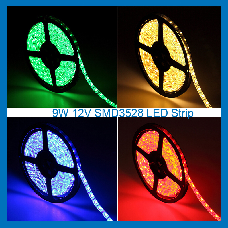 9W SMD3528 LED Strip flexible 2year warranty 12V DC for home hotel festival using no waterproof Strip light 5M/Roll MAX to9.6W/M(China (Mainland))