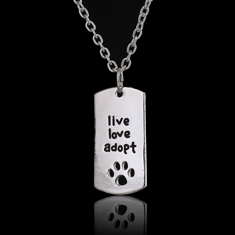 """New Rectangular Dog Tag Style Pendant Necklace Cat Dogs """" live love adopt """" Pet Rescue Paw Print Tag Wholesale Jewelry Gift(China (Mainland))"""