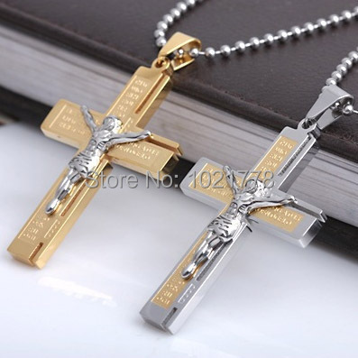 Free shipping Fashion God Jesus Cross charm Pendant Gold Plated Men's Jewelry,Fashion Stainless Steel Cross Necklace For Men(China (Mainland))
