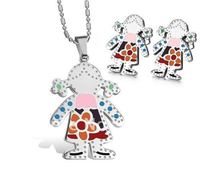 FREE SHIPPING Fashion Cute Women&Girls Jewelry Set Stainless Steel Pretty Little Girl Pendant&Earring(China (Mainland))