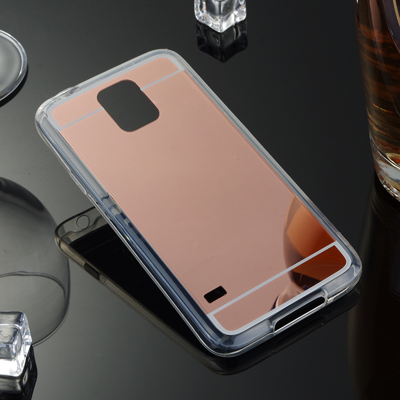 For Samsung Galaxy S5 Mirror Case Soft TPU Back Cover For Samsung galaxy S5 I9600 Cases Cell Phone Shell Rose Gold Accessories