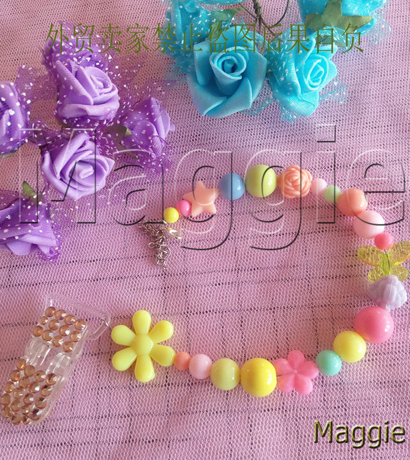 Handmade lovely princess Baby girl's Crystal fashion Pacifier Clip Bling rhinestone clips 0169beads fashion holder clip chain(China (Mainland))