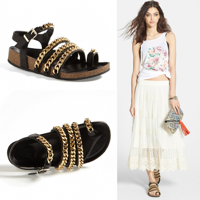 2015 brand genuine leather cowhide metal gold chain flats sandals flip slippers gold chains for women summer gladiator shoes(China (Mainland))