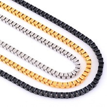 Buy 3mm Stainless Steel Box Chain Necklace High Link Men Necklaces Silver/Gold/Black Color for $1.36 in AliExpress store