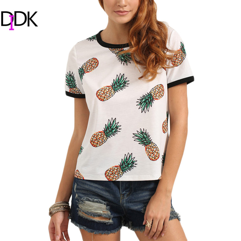 DIDK Woman T shirt With Fruit Print Summer Ladies Multicolor Crew Neck Short Sleeve Pineapple Print Casual T-Shirt(China (Mainland))