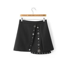 Buy mini 2016 Spring Autumn High Waist Rivets Knitted Skirt Women Pleated Mini Skirt Female Casual Elastic Short Cotton Skirt WT7019 for $35.34 in AliExpress store