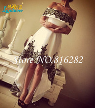Short Hi-Lo Prom Dresses 2016 Boat Neck Black Lace Appliques A Line Party Cocktail Dress Backless Homecoming Gown robe de soiree(China (Mainland))