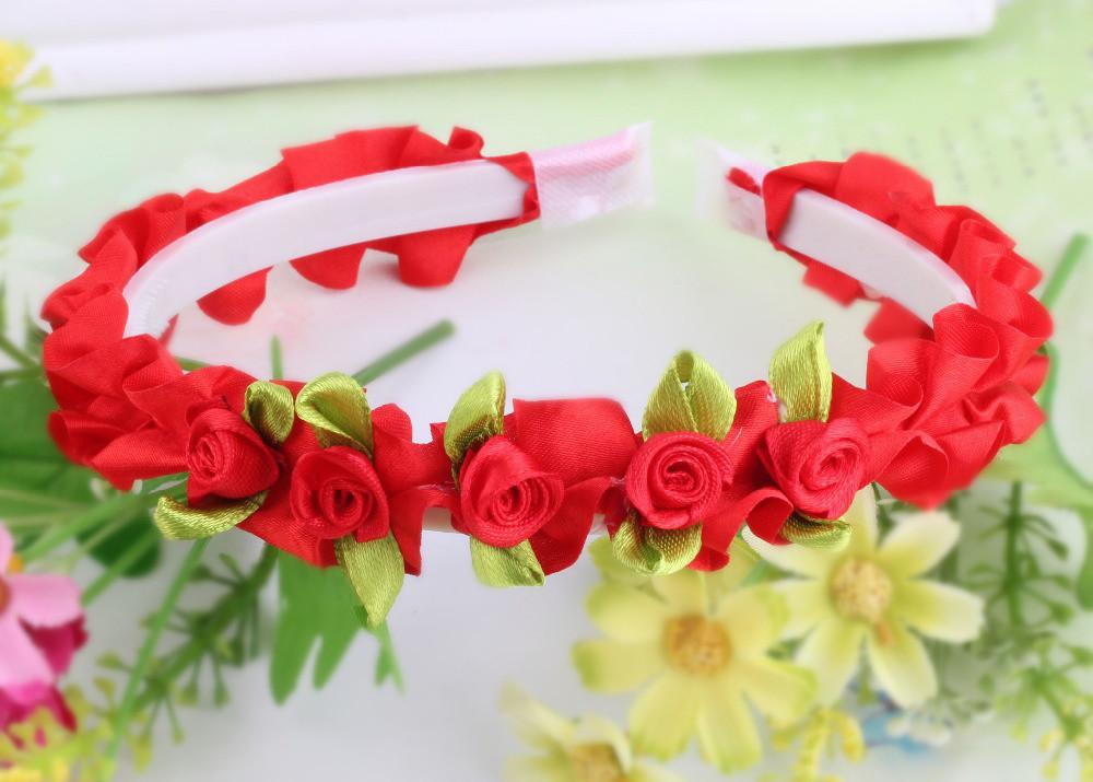 Summer Bohemia Handmade Flower Crown Sweet Handmade Ribbon Flower Headdress Headband Hairband Hair Band Accessories for Girl(China (Mainland))