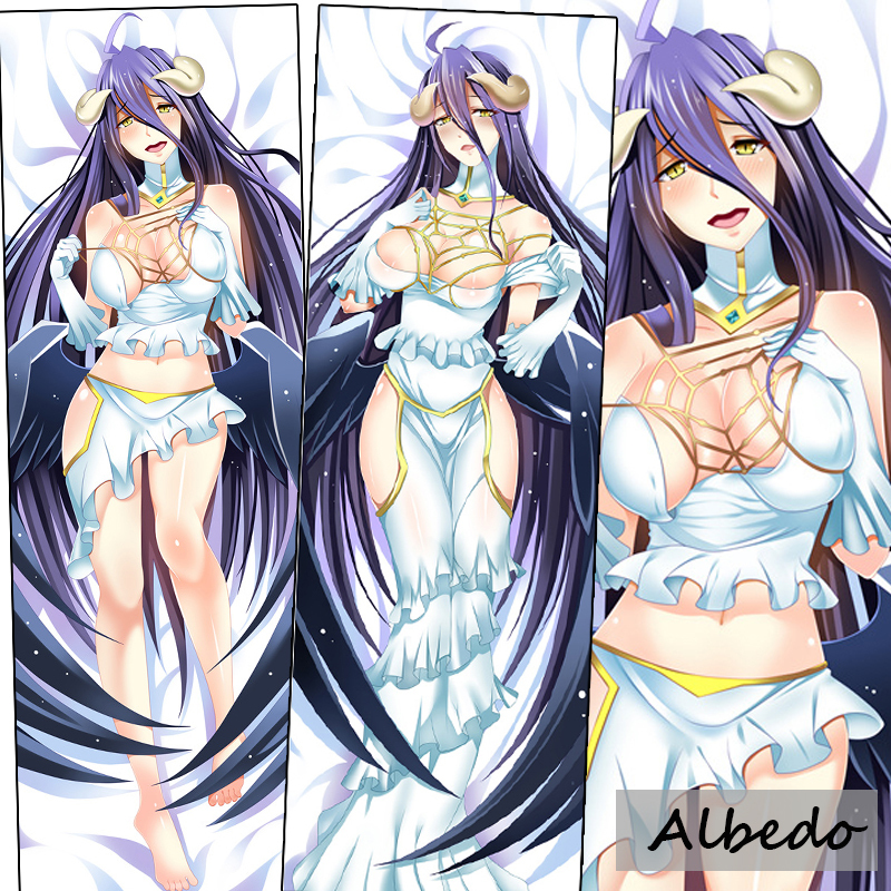 Hot Japanese Game Anime Dakimakura Overlord Albedo Black Wings Sexy decorative Hugging Body Pillow Case Cusion Cover Bedding